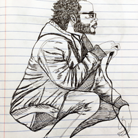 Sketch of man with microphone, based on Sktchy photo